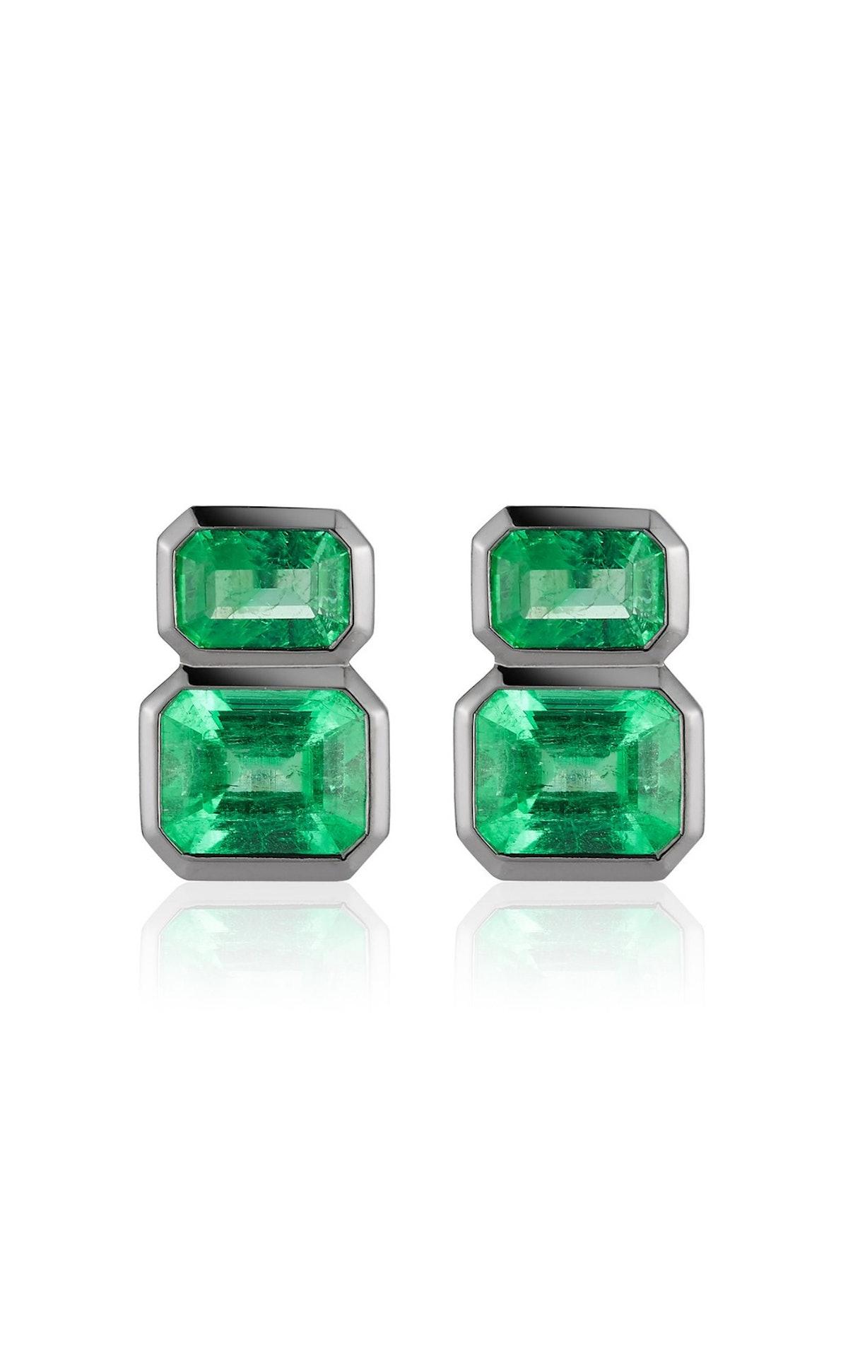 Darkened 18K White Gold And Muzo Emerald Earrings
