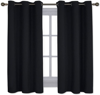 NICETOWN Pitch Black Solid Blackout Curtains (2-Pack)