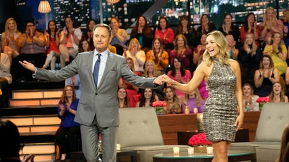 Clare Crowley and Chris Harrison on set of The Bachelor