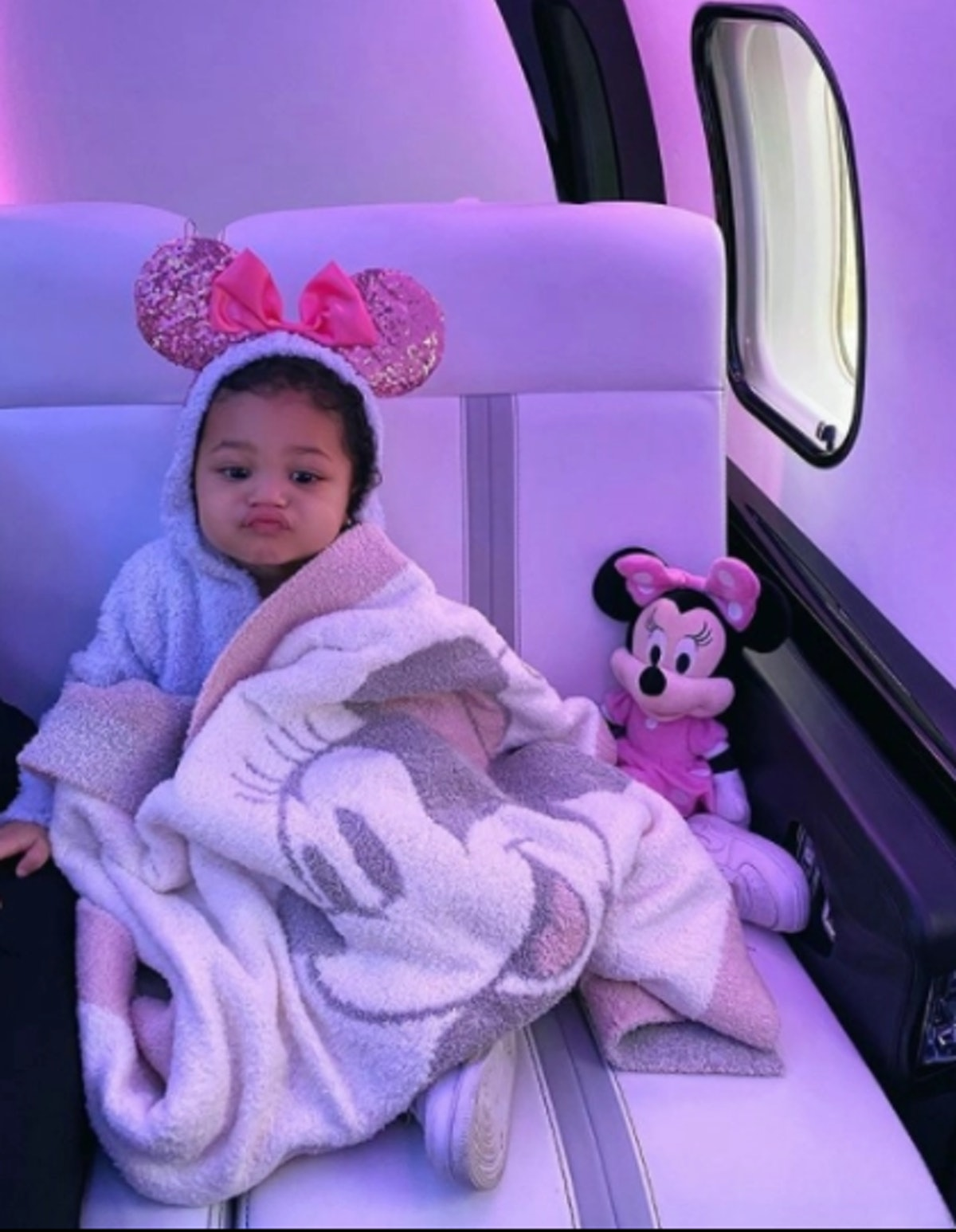 Stormi takes a ride on mom Kylie Jenner's private plane.