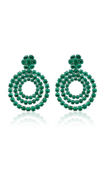 18K White Gold And Muzo Emerald Earrings