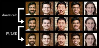 The authors of the study, with their faces transformed through PULSE.