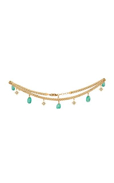 18K Yellow Gold And Muzo Emerald Necklace