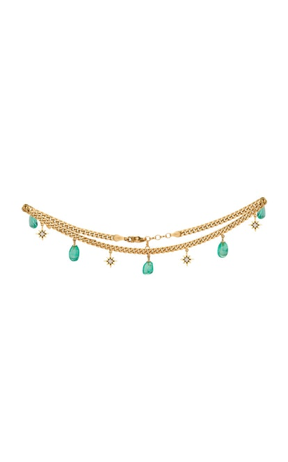 18K Yellow Gold And Muzo Emerald Necklace