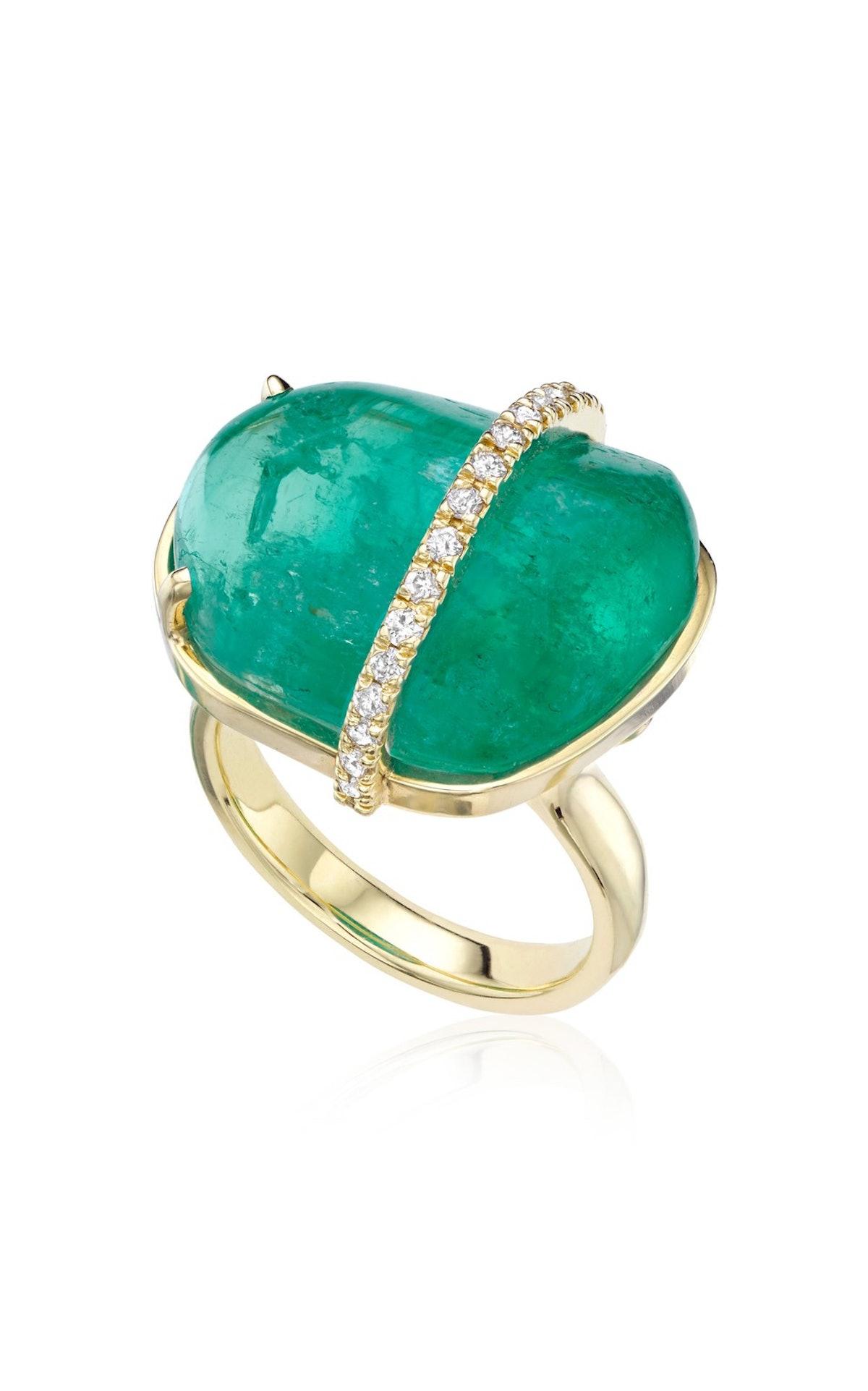 18K Green Gold and Muzo Emerald Ring
