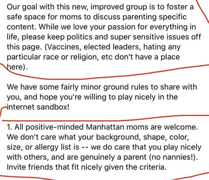 Text reads: Our goal with this new, improved group is to foster a safe space for moms to discuss parenting specific content. While we love your passion for everything in life, please keep politics and super sensitive issues off this page.