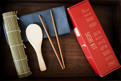 Sushi Making Kit with Cookbook, Bamboo Roller, Rice Paddle, Chopsticks, and Storage Box