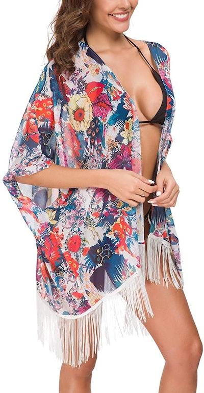 OLRAIN Sheer Chiffon Kimono Cardigan
