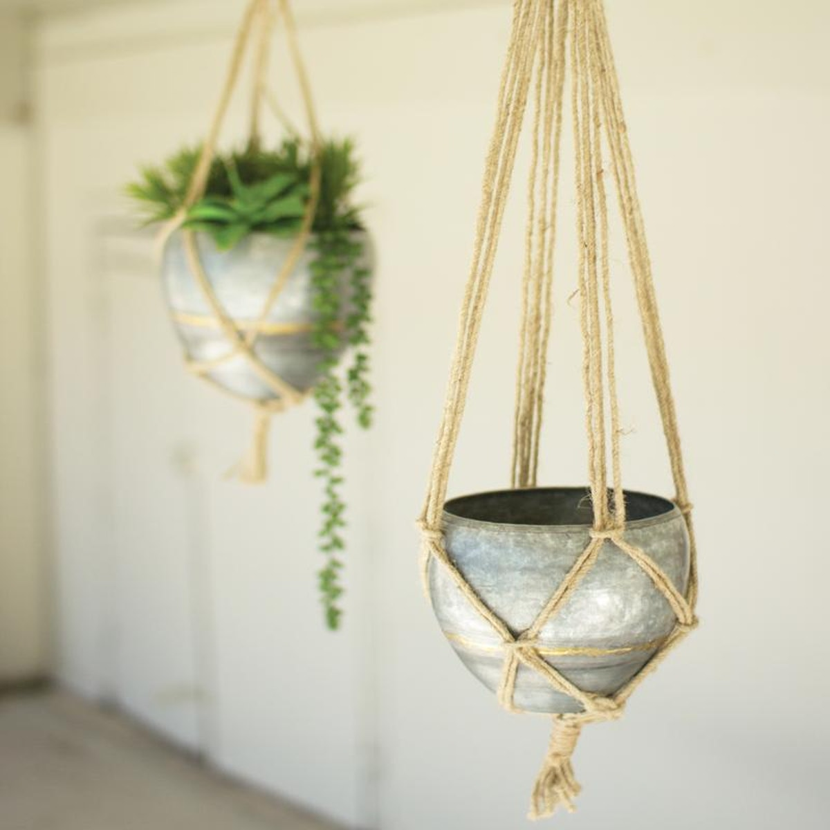 Jungalow Set of 2 Hanging Galvanized Planters With Jute Rope