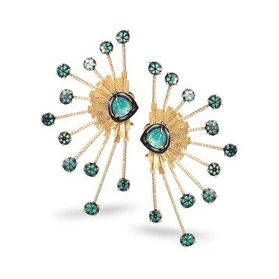20K Bloom Emerald Earrings