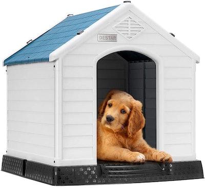 DEStar Durable Dog House Indoor Outdoor Shelter