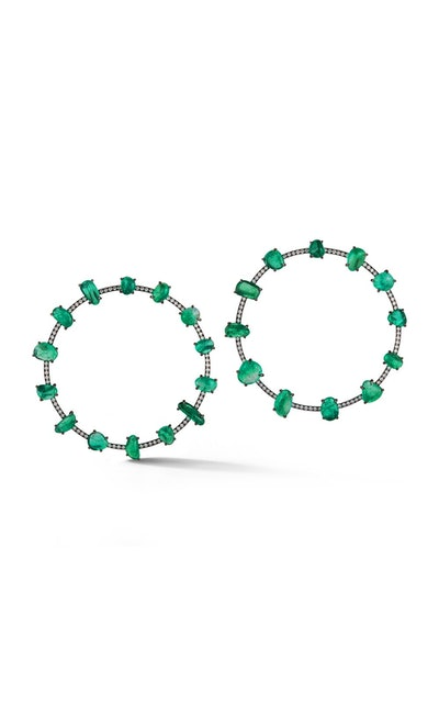18K Darkened White Gold And Muzo Emerald Earrings