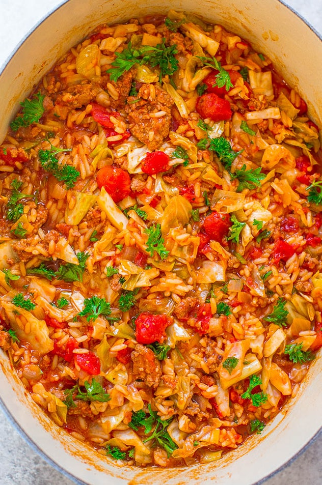 30-Minute One-Pot Cabbage Rolls are a one-pot meal to make without pasta.