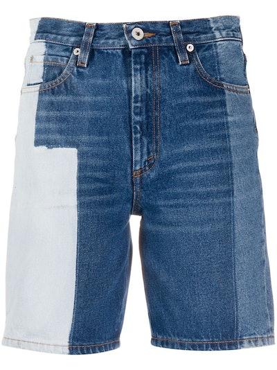 Colour-Blocked Denim Shorts
