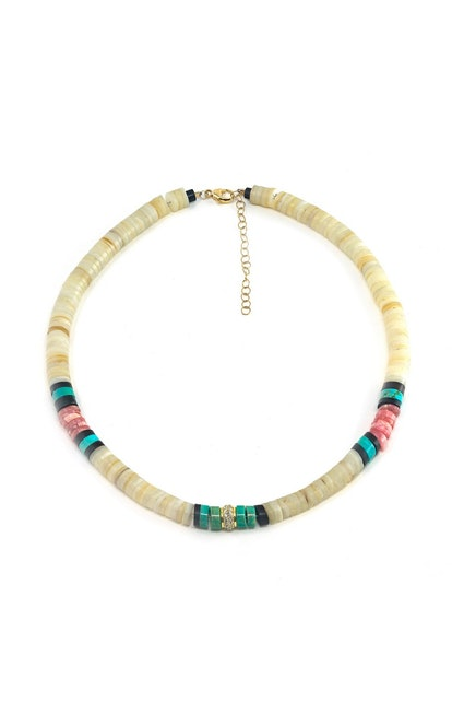 18K Gold And Diamond Heishi Bead Necklace