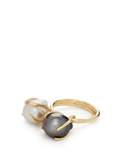 Fiji Pearl & 14kt Gold-Plated Ring Set