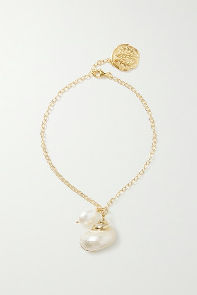 Gold-Tone Mother-Of-Pearl Anklet