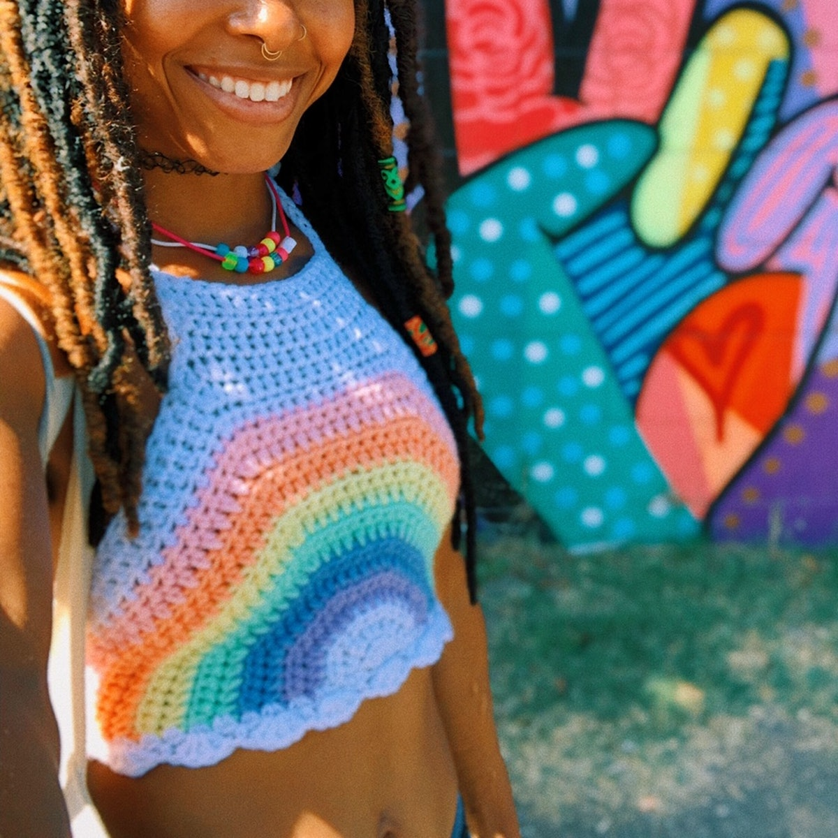 @ofkymil Pastel Rainbow Crochet Halter Crop Top