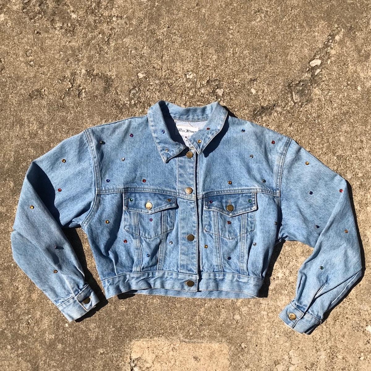 @mellowaya Vintage Paris Blues Cropped Denim Jacket