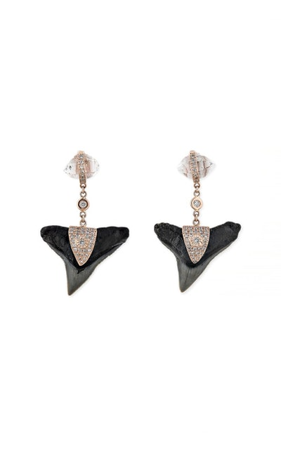 Pave Herkimer V Cap Black Shark Tooth Stud Earrings