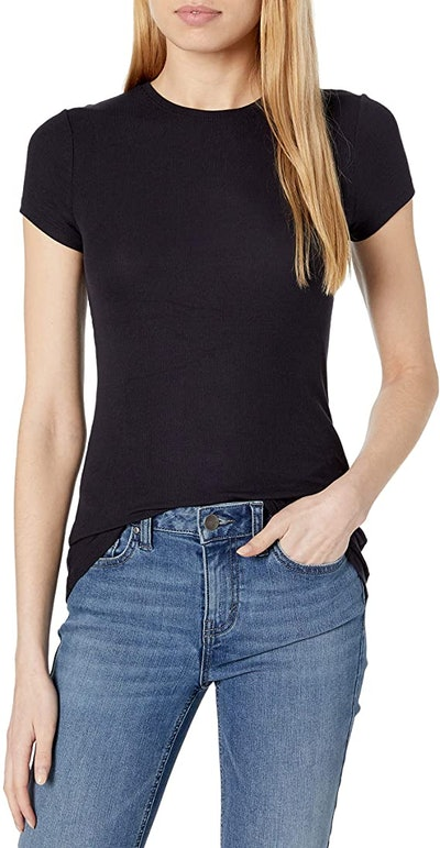 Daily Ritual Women's Ribbed Short-Sleeve Crew Neck Shirt