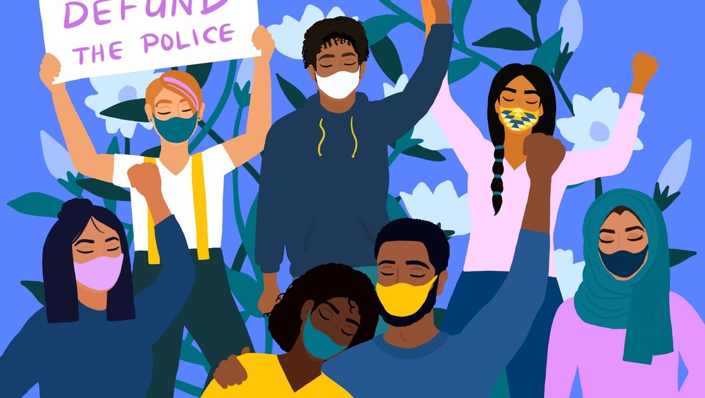 "A brightly-colored illustration of Black Lives Matter protesters of many ethnicities. All are wearing masks and have their eyes closed. Many have raised fists and are carrying signs reading slogans like, ""No Justice, No Peace."""