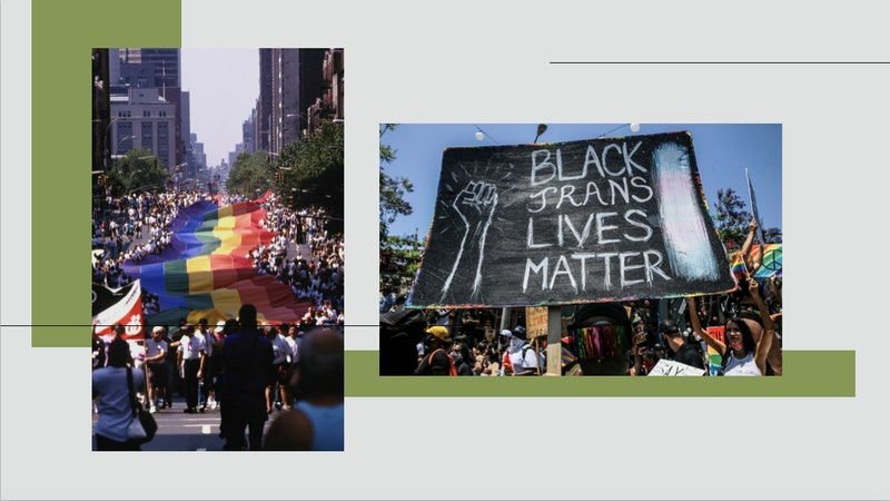 Images from Pride and Black Lives Matter marches. The origins of pride month were always radical.