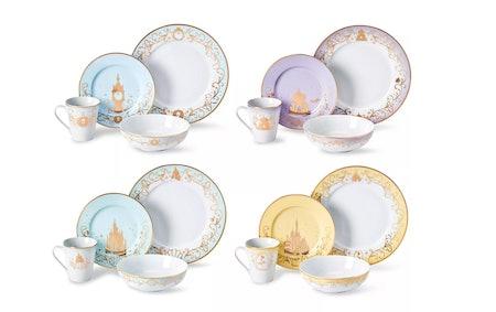 Robe Factory LLC, Disney Themed 16 Piece Ceramic Dinnerware Set Collection