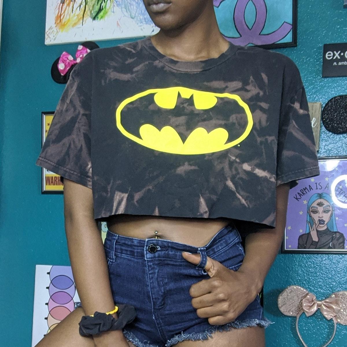 @tandybydesign Custom-Dyed Batman Crop Top