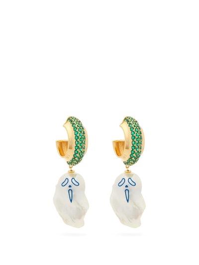 Urlo Crystal-Embellished Pearl-Drop Earrings
