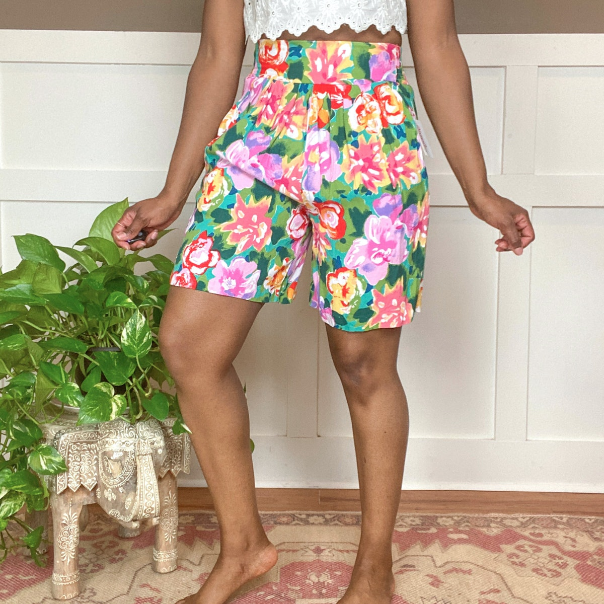 @nancysvtgshop Vintage '90s High-Rise Rayon Shorts