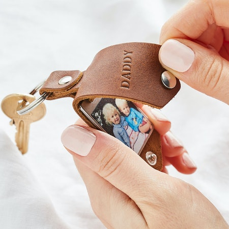 Personalised Photo Keyring in Leather Case + Initials - Create Gift Love