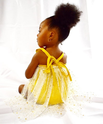 Mustard Romper with Gold Star Tulle Train