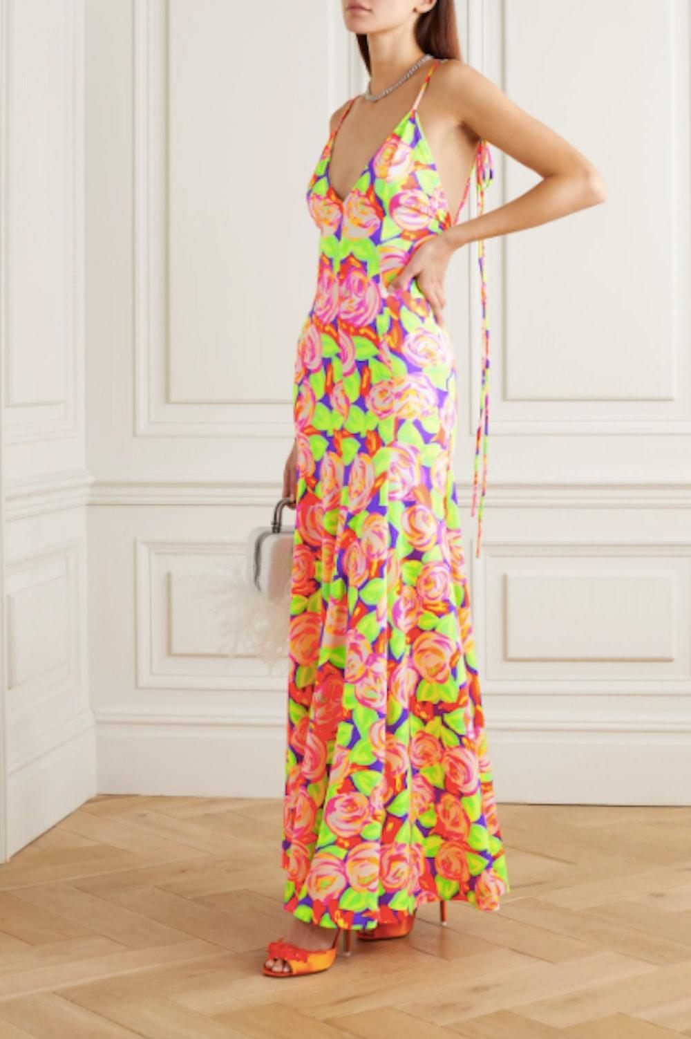 Pleated floral-print stretch-satin maxi dress