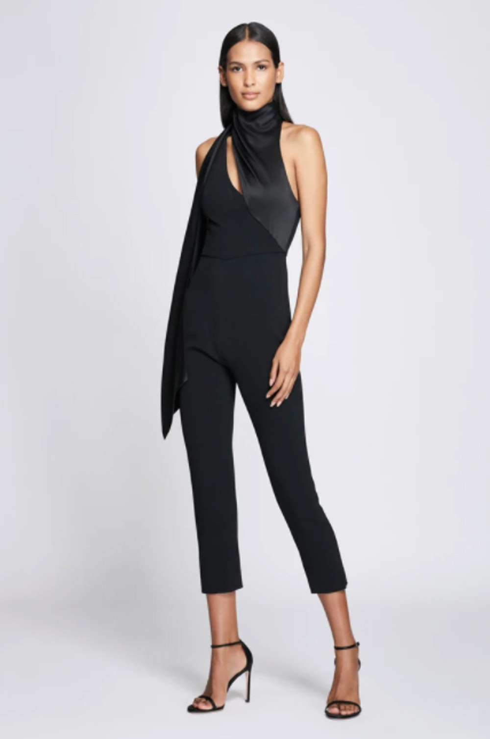 Black Cropped Jumpsuit with Scarf Detail