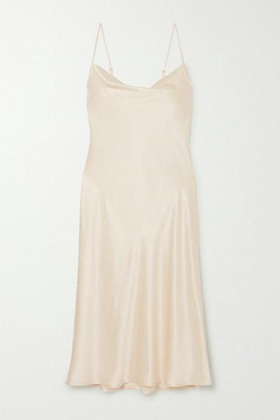 Sleeper Draped Silk-Satin Midi Dress