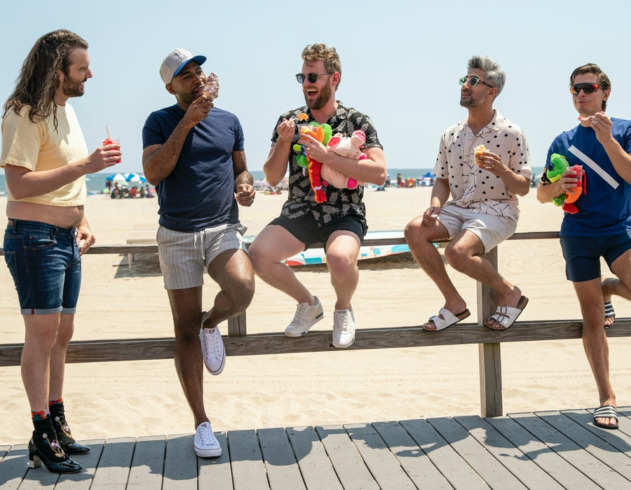 JONTHAN VAN NESS, KARAMO BROWN, BOBBY BERK, TAN FRANCE, and ANTONI POROWSKI in 'QUEER EYE' Season 5 from Netflix Media site