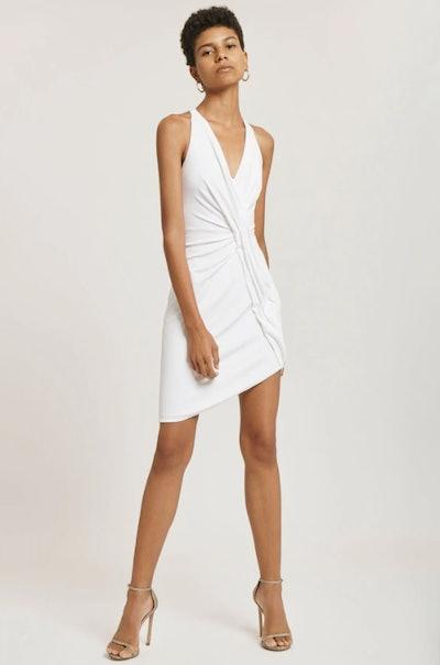 White Sleeveless Crepe Mini Dress