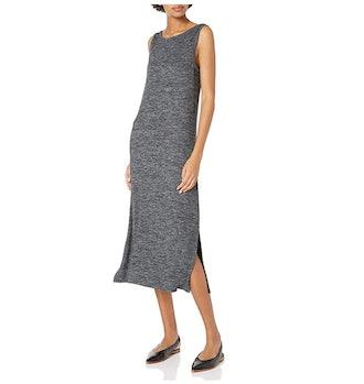 Daily Ritual Women's Cozy Knit Sleeveless Bateau Neck Midi Dress