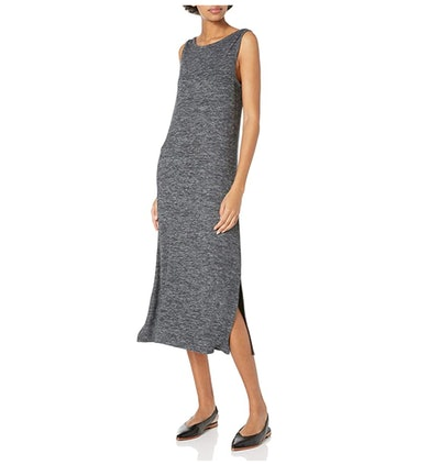 Daily Ritual Women's Cozy Knit Sleeveless Bateau Neck Midi Dress