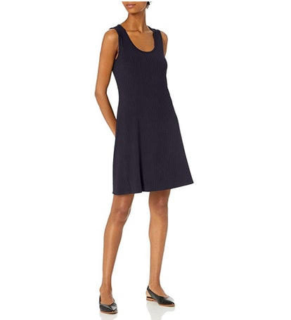 Daily Ritual Women's Rayon Spandex Wide Rib Short-Sleeve Scoop-Neck T-Shirt Dress
