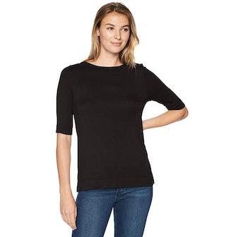 Lark & Ro Women's Elbow-Sleeve Boat Neck Shirt