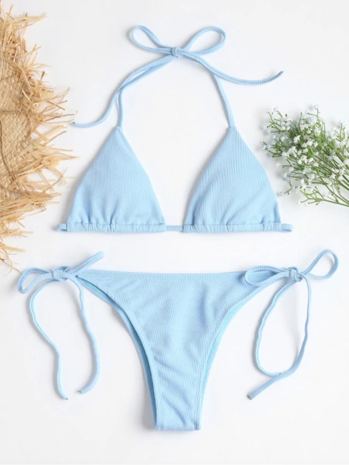 Zaful Ribbed String Bikini Set