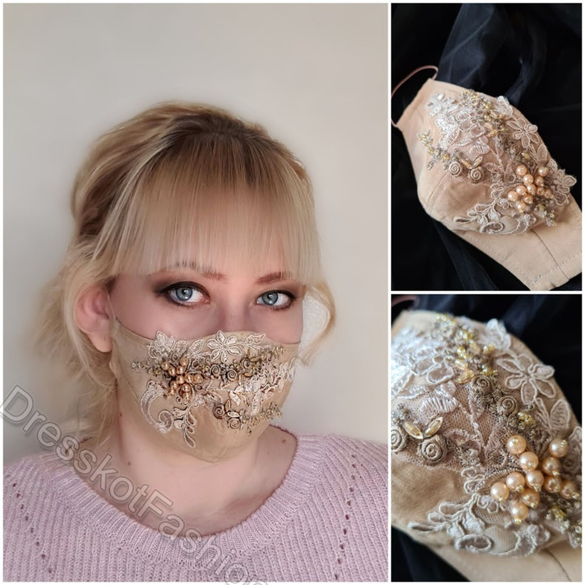 Wedding face mask, Beaded bridal face mask, Embroidered lace face mask