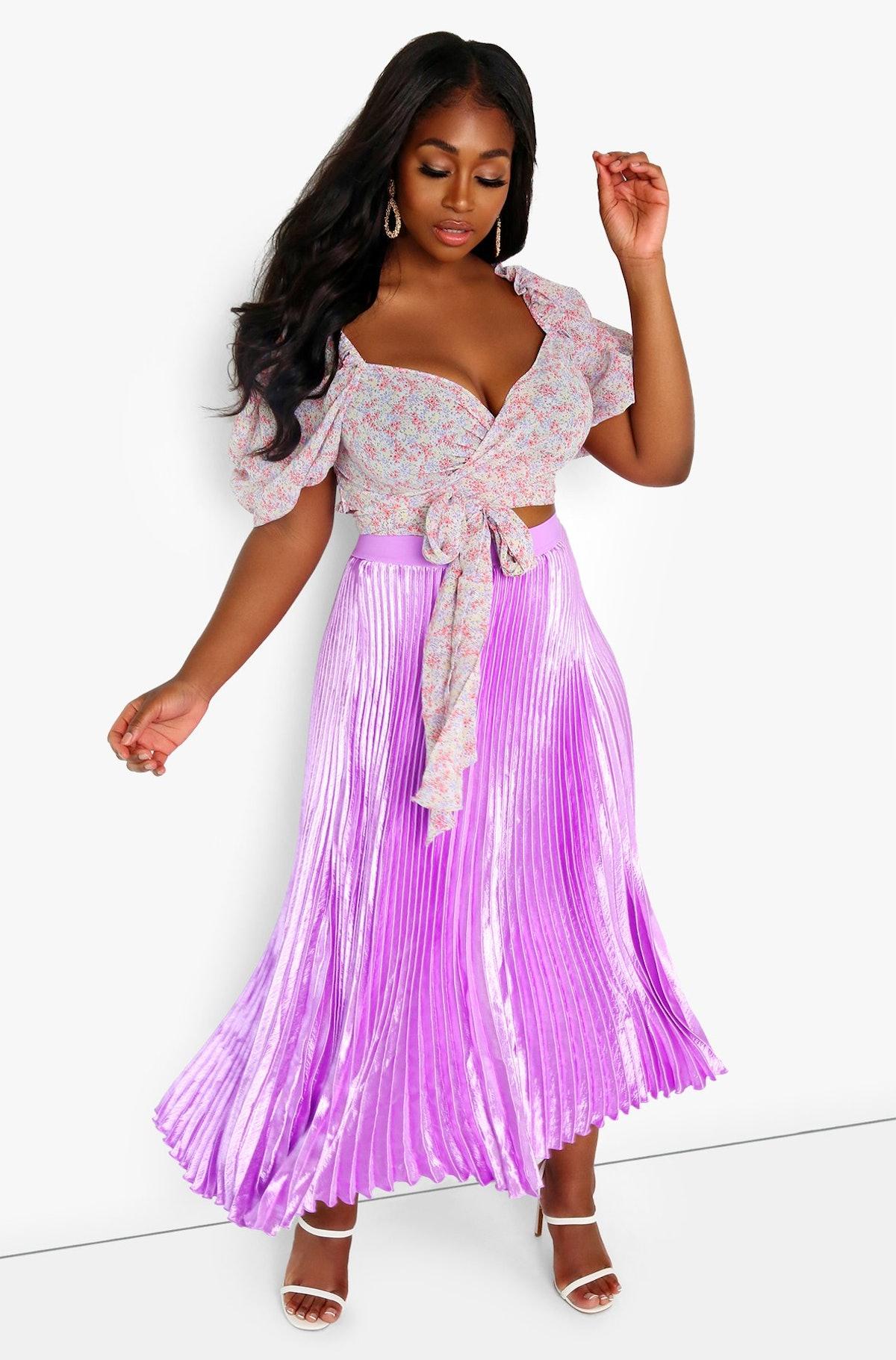 Rebdolls Sunday's Best Pleated Satin Maxi Skirt