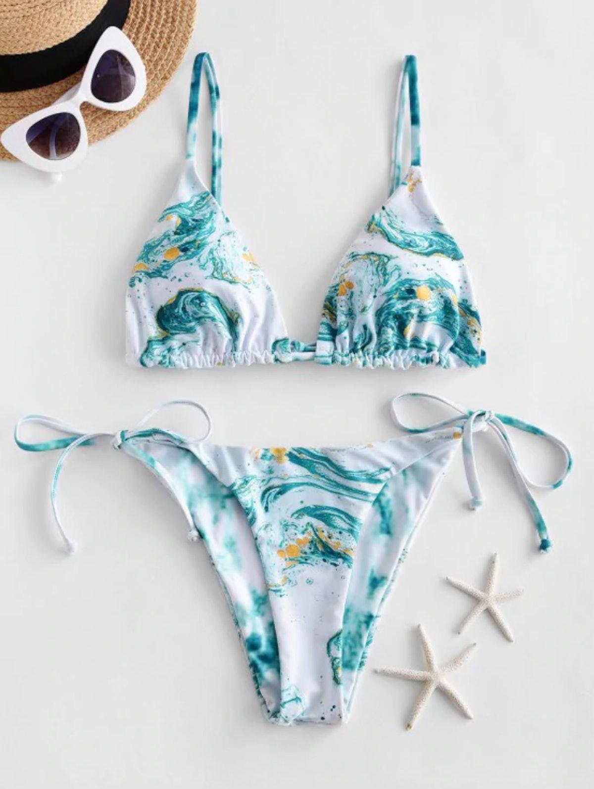 Zaful Ocean Print Reversible String Bikini Swimsuit