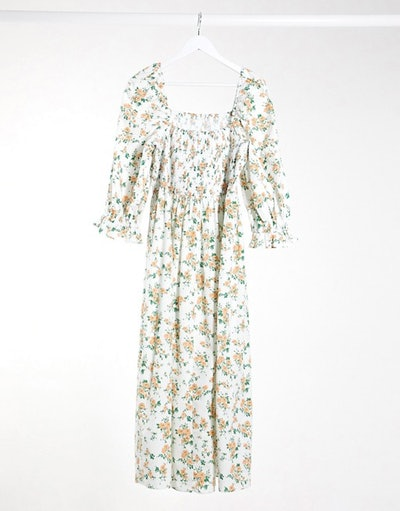 ASOS DESIGN Curve shirred cotton maxi dress in ditsy floral
