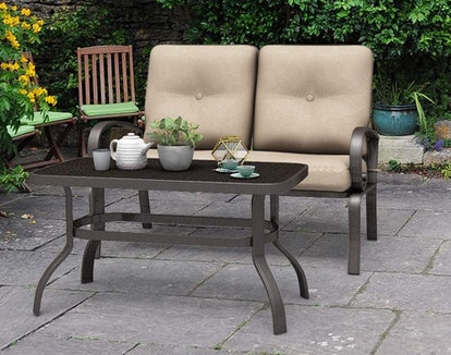 Giantex Patio Loveseat with Coffee Table (2 Pieces)