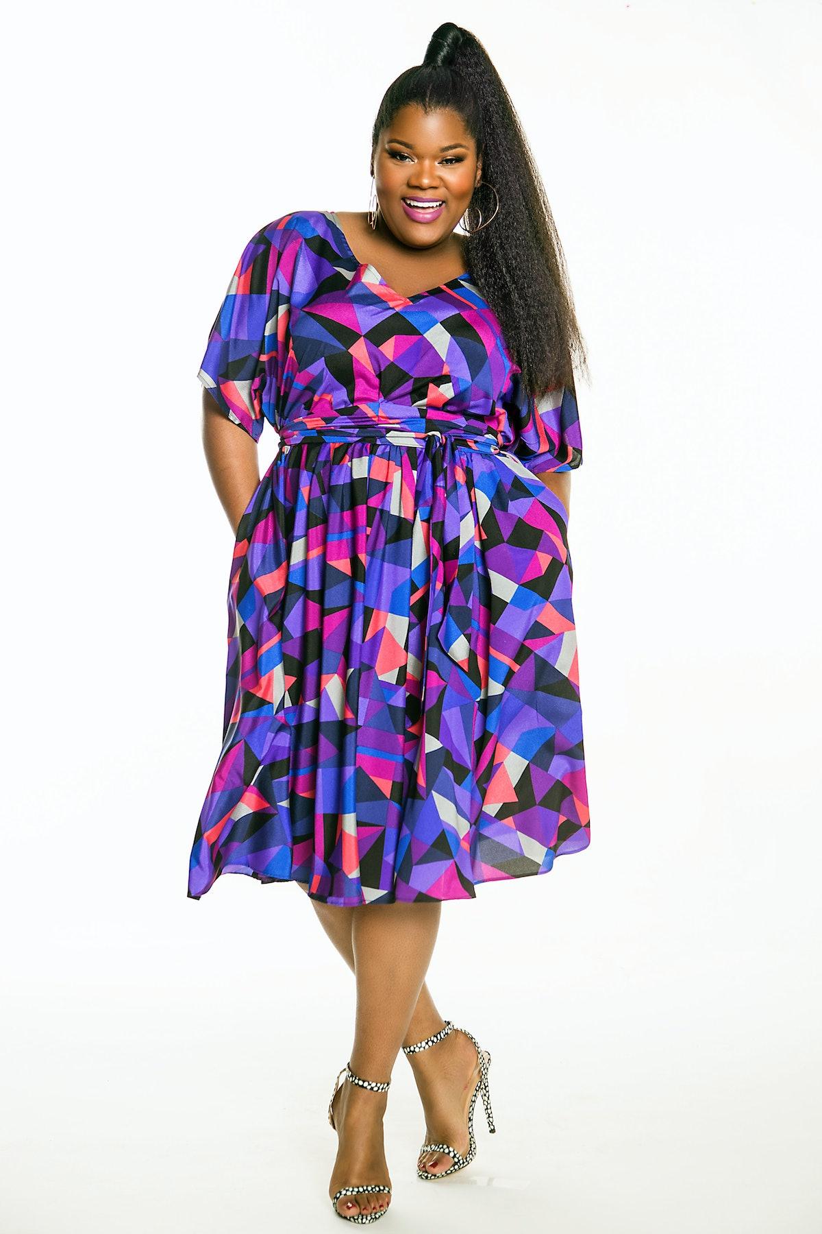 Jibri Bat-Sleeved Flare Dress With Shoulder Slits