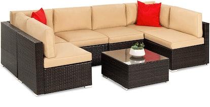 Best Choice Products Modular Outdoor Conversational Furniture Set (7 Pieces)